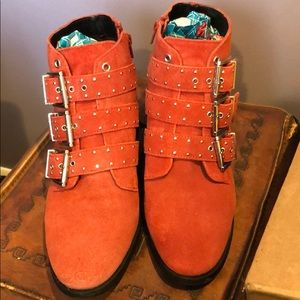 Topshop Krown Red Studded Booties